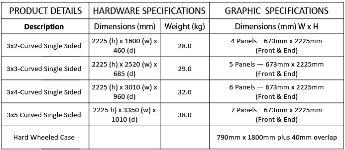 Curved Pop Up Exhibition Stand Specifications