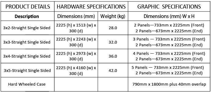 Straight Pop Up Exhibition Stand Specifications